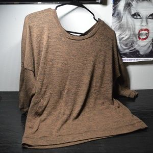 Heather brown scoop neck ladies slouchy sweater S